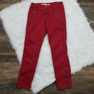 Anthro Pilcro & Letter Press Red Zipper Pants